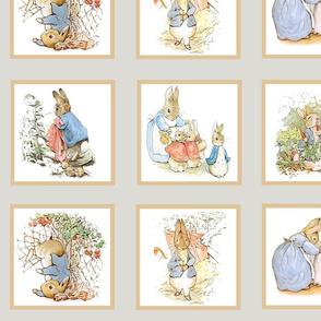 Peter Rabbit Quilt Block Panel Set #1 - Light Gray
