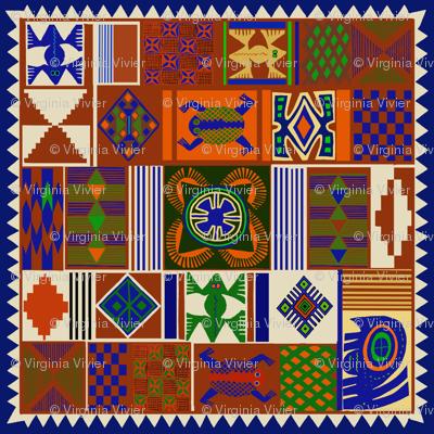 African Folk Art Faux Quilt 36 inch