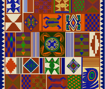 African Folk Art Faux Quilt 36 inch fabric by vagabond_folk_art on Spoonflower - custom fabric