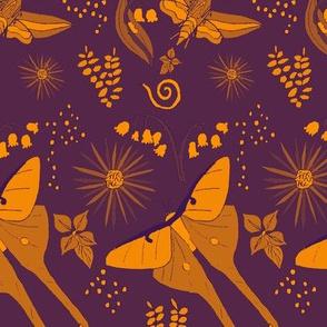 Luna Hummingbird Moth Floral