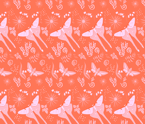 Coral Moths fabric by ladyjulie on Spoonflower - custom fabric