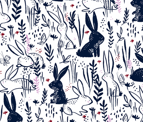 Hop to It - © Lucinda Wei fabric by lucindawei on Spoonflower - custom fabric