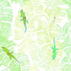 Kona Geckos Olive on White 200