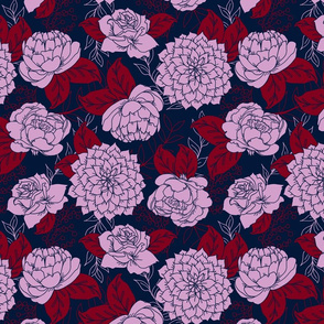 Navy, Light Orchid, Burgundy Floral Pattern
