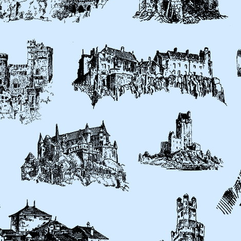 Castles on Light Blue // Large fabric by thinlinetextiles on Spoonflower - custom fabric