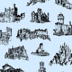 Castles on Light Blue // Small