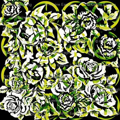 peace roses-monochromatic, green