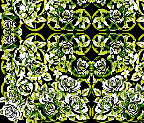 peace roses-monochromatic, green fabric by kae50 on Spoonflower - custom fabric