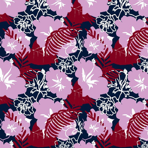 limited palette Orchid Navy Hibiscus Hawaiin print  10x10 white lines
