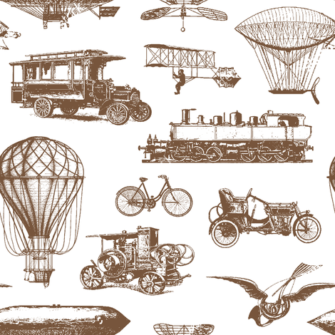 Retro Transportation // Brown // Small fabric by thinlinetextiles on Spoonflower - custom fabric