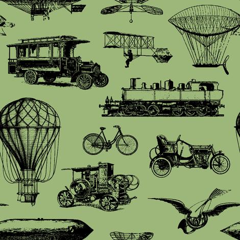 Retro Transportation // Eu de Nil // Small fabric by thinlinetextiles on Spoonflower - custom fabric