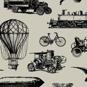 Retro Transportation // Light Taupe // Large