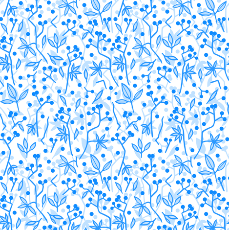 Small blue berries fabric by marta_strausa on Spoonflower - custom fabric
