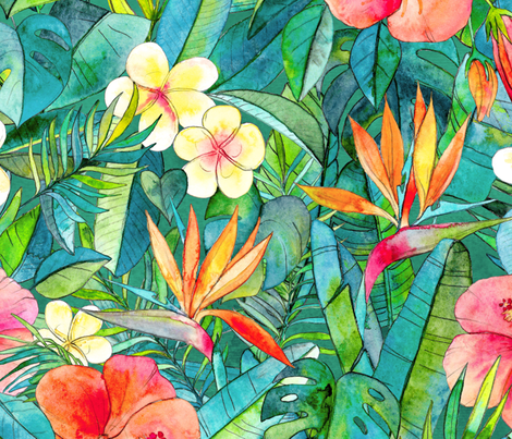 Classic Tropical Garden in watercolors 2 extra large print fabric by micklyn on Spoonflower - custom fabric