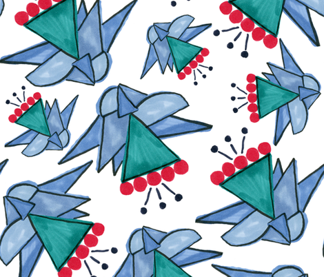 Celina geometric flowers fabric by lauranor on Spoonflower - custom fabric