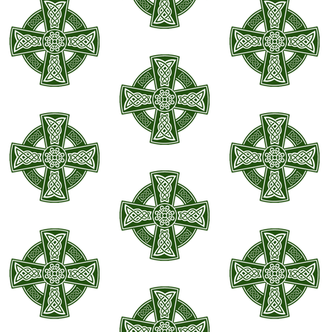 Ornate Celtic Cross // Emerald // Small fabric by thinlinetextiles on Spoonflower - custom fabric