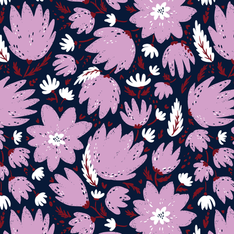 pink blooming florals fabric by daria_nokso on Spoonflower - custom fabric