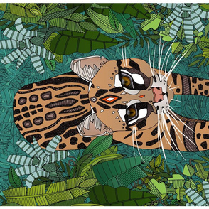 ocelot jungle green tea towel