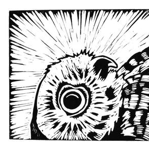Owl linocut tea towel