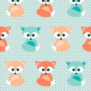 baby foxes - coral and mint