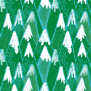 Snow mountains // green and blue