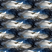aircraft over mountains (painting effect)