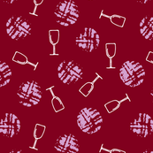 Wine glass and imprint of cork on burgundy