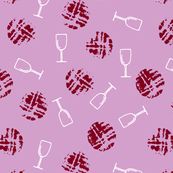 Wine glass and imprint of cork on light orchid
