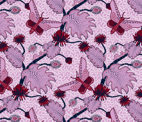 Java Fantasy Caterpillar and Butterfly Orchid and Navy fabric by bloomingwyldeiris on Spoonflower - custom fabric