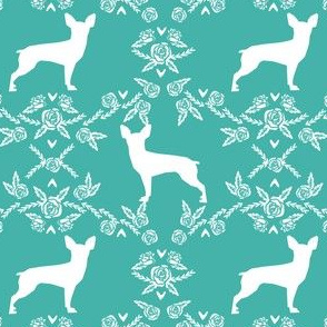 min pin floral silhouette miniature doberman pinscher fabric turquoise