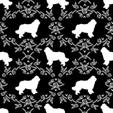 newfoundland floral silhouette dog breed fabric black and white fabric by petfriendly on Spoonflower - custom fabric