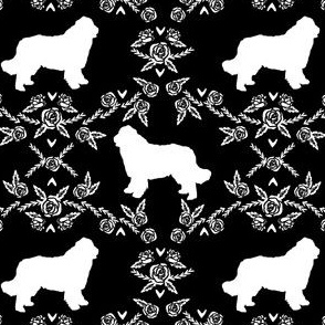 newfoundland floral silhouette dog breed fabric black and white
