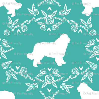 newfoundland floral silhouette dog breed fabric turquoise