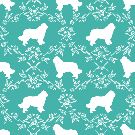 newfoundland floral silhouette dog breed fabric turquoise fabric by petfriendly on Spoonflower - custom fabric