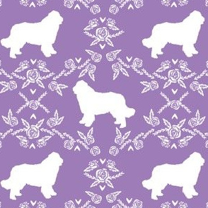 newfoundland floral silhouette dog breed fabric purple