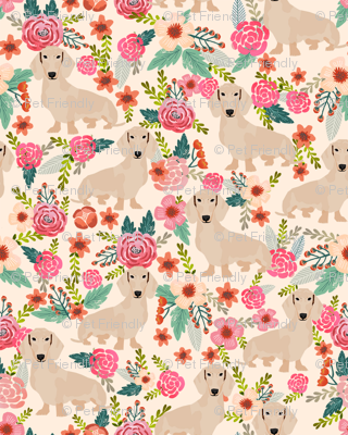 doxie floral cream dachshunds dog breed fabric lite