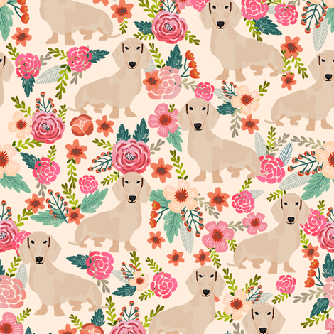 doxie floral cream dachshunds dog breed fabric lite fabric by petfriendly on Spoonflower - custom fabric