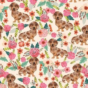 doxie floral dapple chocolate dachshund dog breed fabric beige