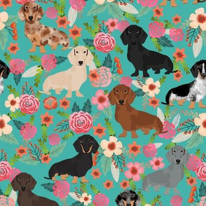 doxie floral mixed coats dachshunds dog breed fabric blue