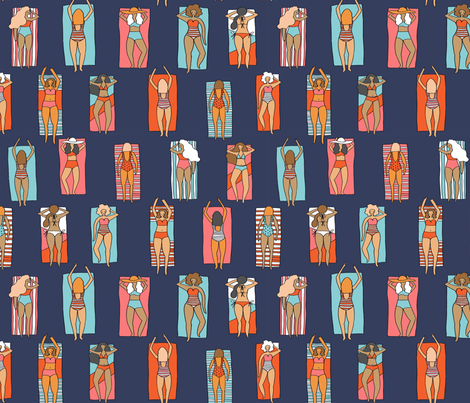 Sunbathers // beach summer vacation seaside sun bikini bathing suit fabric navy fabric by andrea_lauren on Spoonflower - custom fabric