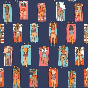 Sunbathers // beach summer vacation seaside sun bikini bathing suit fabric navy