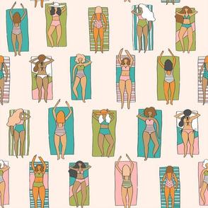 Sunbathers // beach summer vacation seaside sun bikini bathing suit fabric tan