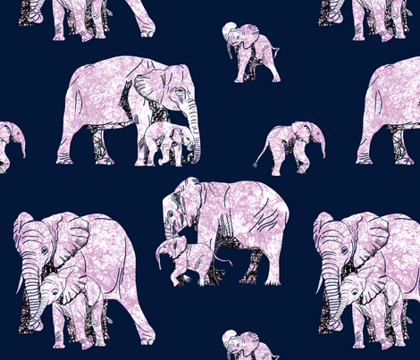 Elephant Love - Limited Pallet Challenge  fabric by house_of_heasman on Spoonflower - custom fabric
