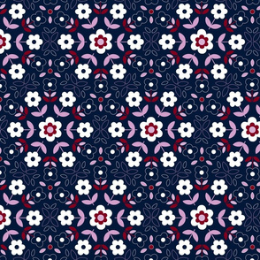 Retro Flower Mandala -  orchid and navy