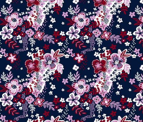 Limited palette floral fabric by laura_may_designs on Spoonflower - custom fabric