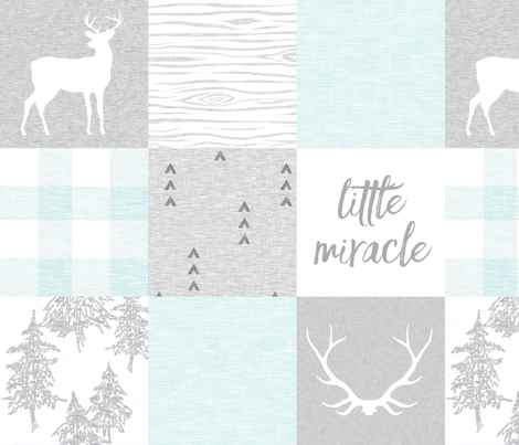 Little Miracle, So Loved - Aqua and Grey fabric by sugarpinedesign on Spoonflower - custom fabric