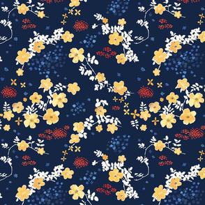 Yellow Clematis Floral Pattern on navy blue