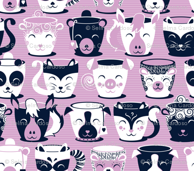 Cuddly Tea Time // small scale // white navy & light orchid pink animal mugs