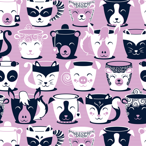 Cuddly Tea Time // small scale // white navy & light orchid pink animal mugs fabric by selmacardoso on Spoonflower - custom fabric