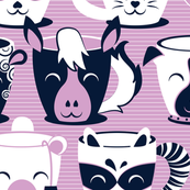 Cuddly Tea Time // white navy & light orchid pink animal mugs